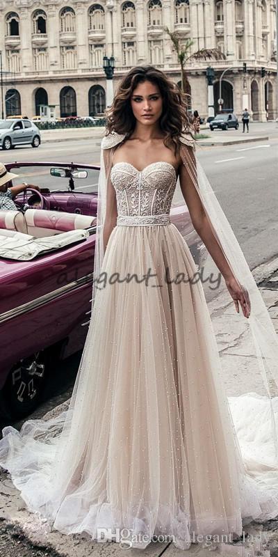 Julie Vino Full Beaded Wedding Dresses with cape wrap Beach Backless Sweetheart Neckline Vestido De Novia Lace Corset Wedding Gowns