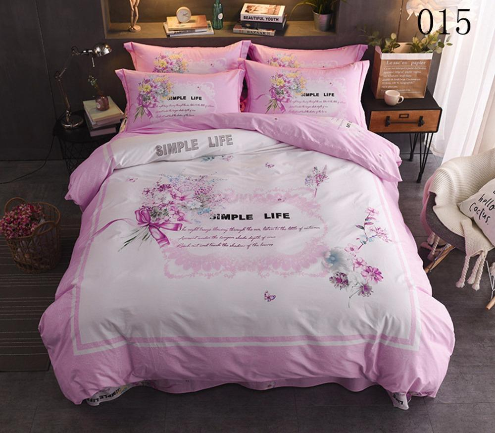 4Pcs Coon Bedding Set Bed Linens Full Queen King Flat Bed Sheet Quilt Cover Duvet Cover Pillowcase Bedclothes Home White Pink