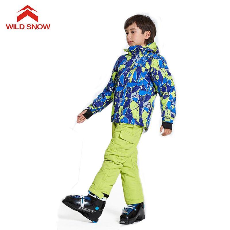 5ecc32b2be WILD SNOW Boys girls Ski Suit Windproof Snow Jacket of Winter Sports ...