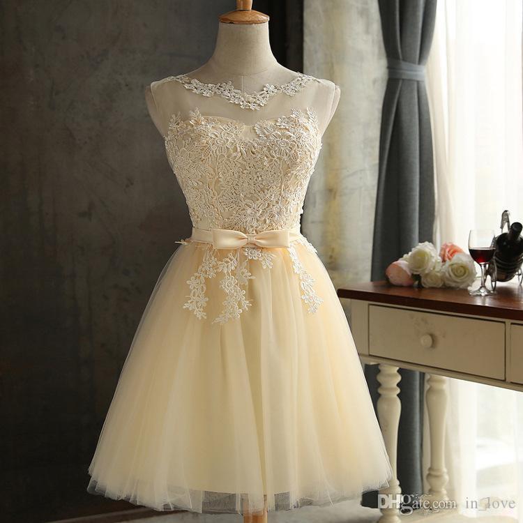 Immagine reale 2019 Sweety breve ritorno a casa vestito in pizzo tulle arco telaio vedere attraverso collo abiti da ballo abiti da festa vestido curto custom made