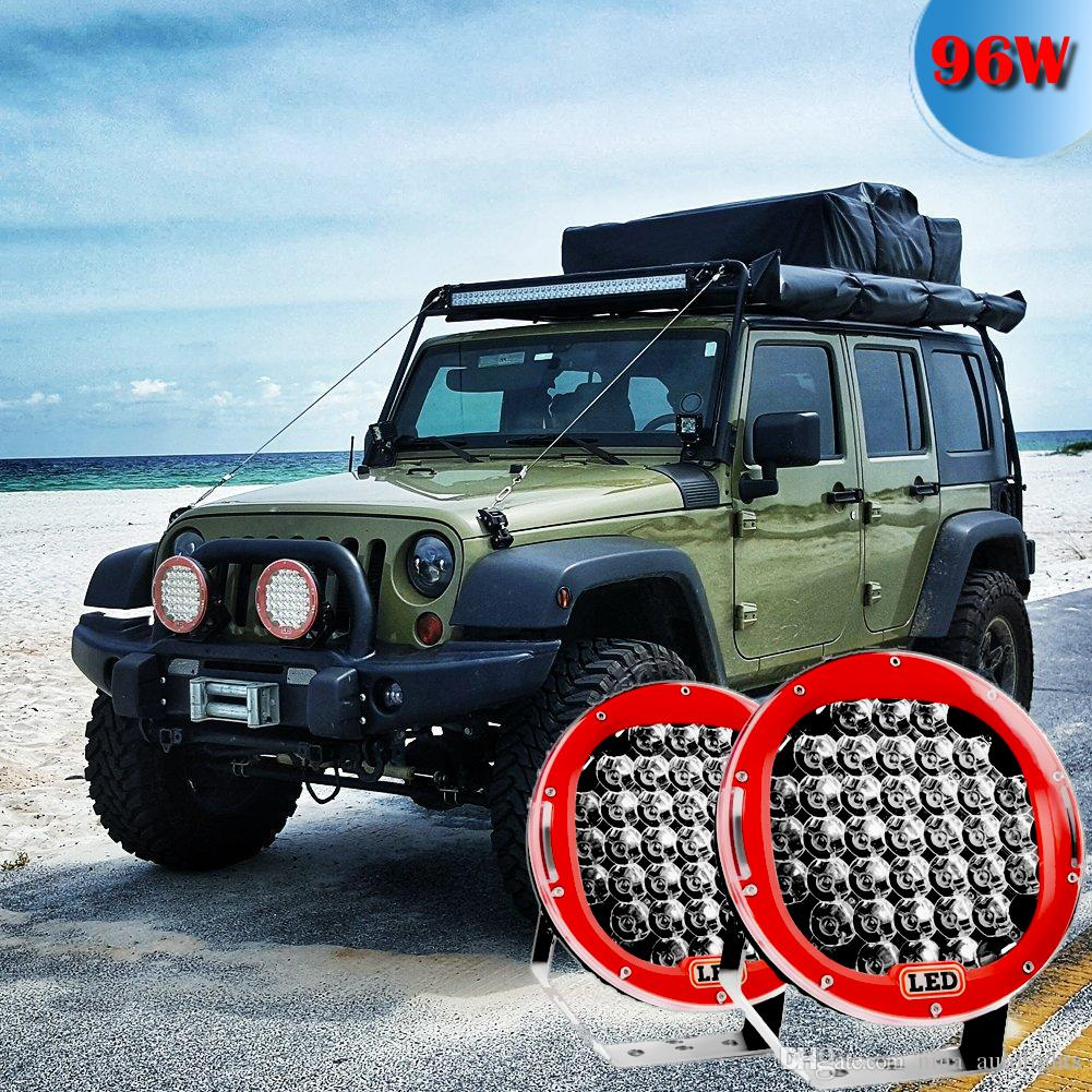 9inch red 96w round led work light 12v fog driving roof bar bumper 9inch red 96w round led work light 12v fog driving roof bar bumper off road light bar for truck car atv suv jeep boat atv auxiliary portable led lamps aloadofball Image collections