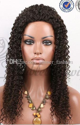 Made in China fashion style 100% unprocessed remy virgin human hair long natural color kinky curly full lace cap wig for lady