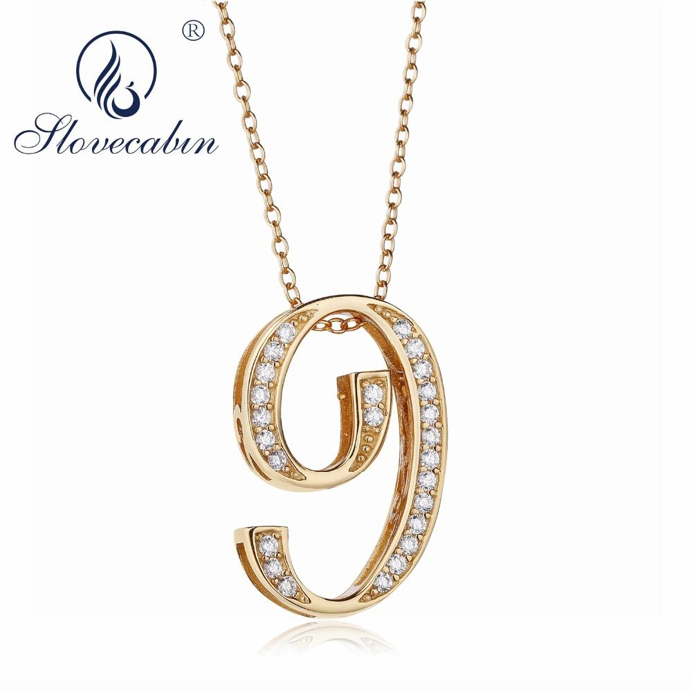 e7c25c60036 Slovecabin Silver Gold Color Number 8 9 Pendants 925 Sterling