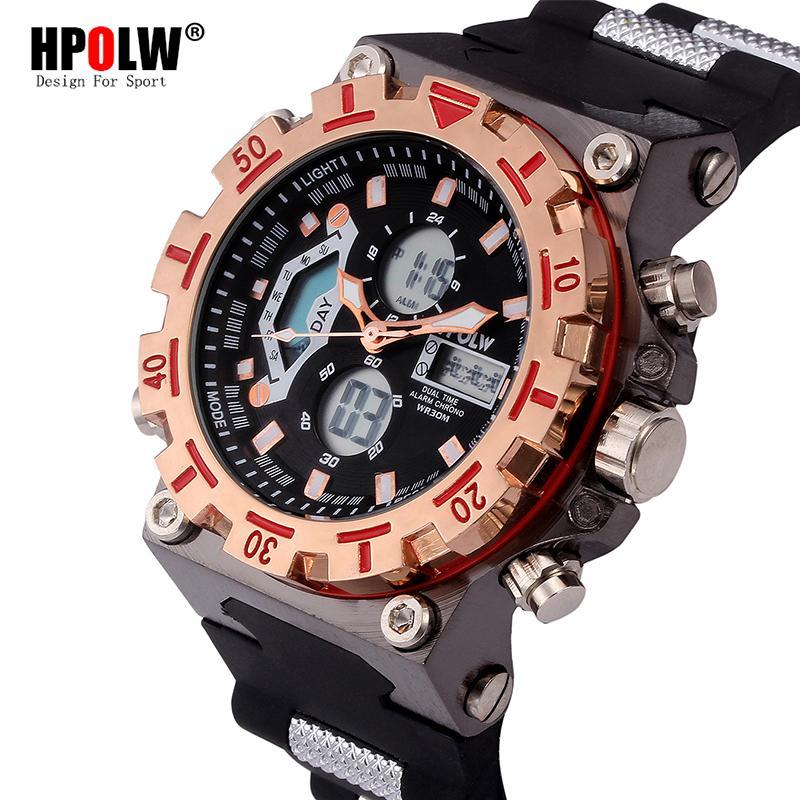 0851e7c3c7f Compre LED Relojes Electrónicos HPOLW Marca Fashion Digital Watch Hombres  Sport Analog Quartz Watch Mens Relogio Masculino Xfcs A  31.71 Del Haydene  ...