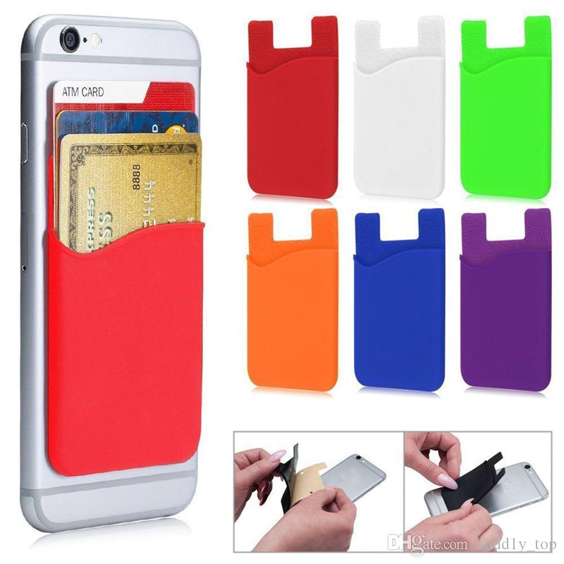 Silicone Wallet Credit Card Cash Pocket Sticker 3M Adhesive Stick-on ID Credit Card Holder Pouch Gadget For iPhone for Samsung Mobile Phone