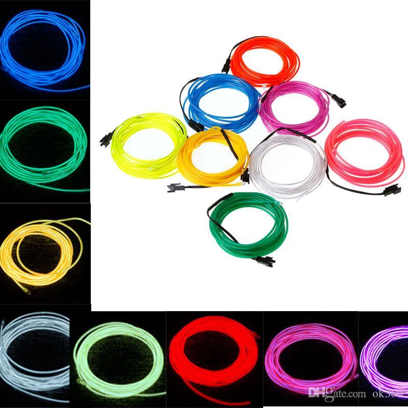 1m 2m 3m 5m Flexible Neon Light Glow El Wire Rope Tube Car Dance ...