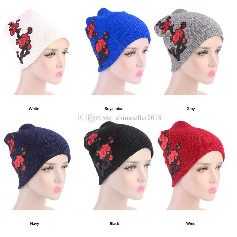 64569380c34 Muslim Women Winter Print Flower Turban Hat Warm Knit Cap Beanie Chemo  Headwear Head Wrap Cancer Patients Hair Loss Accessories Mens Hats Straw Hat  From ...