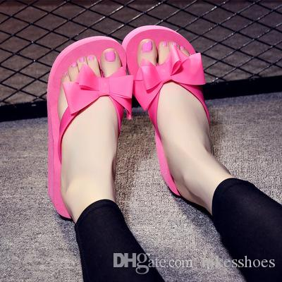 Summer summer shoes, slippers, Korean bow, clip, feet, flip flops, thick bottom, anti slip, high heel and cool slippers.