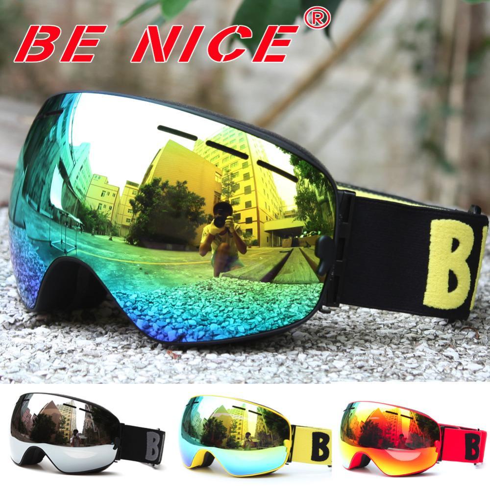a49611613f99 2019 Benice Brand Skiing Eyewear Anti Fog Double Lens Skiing Goggle ...