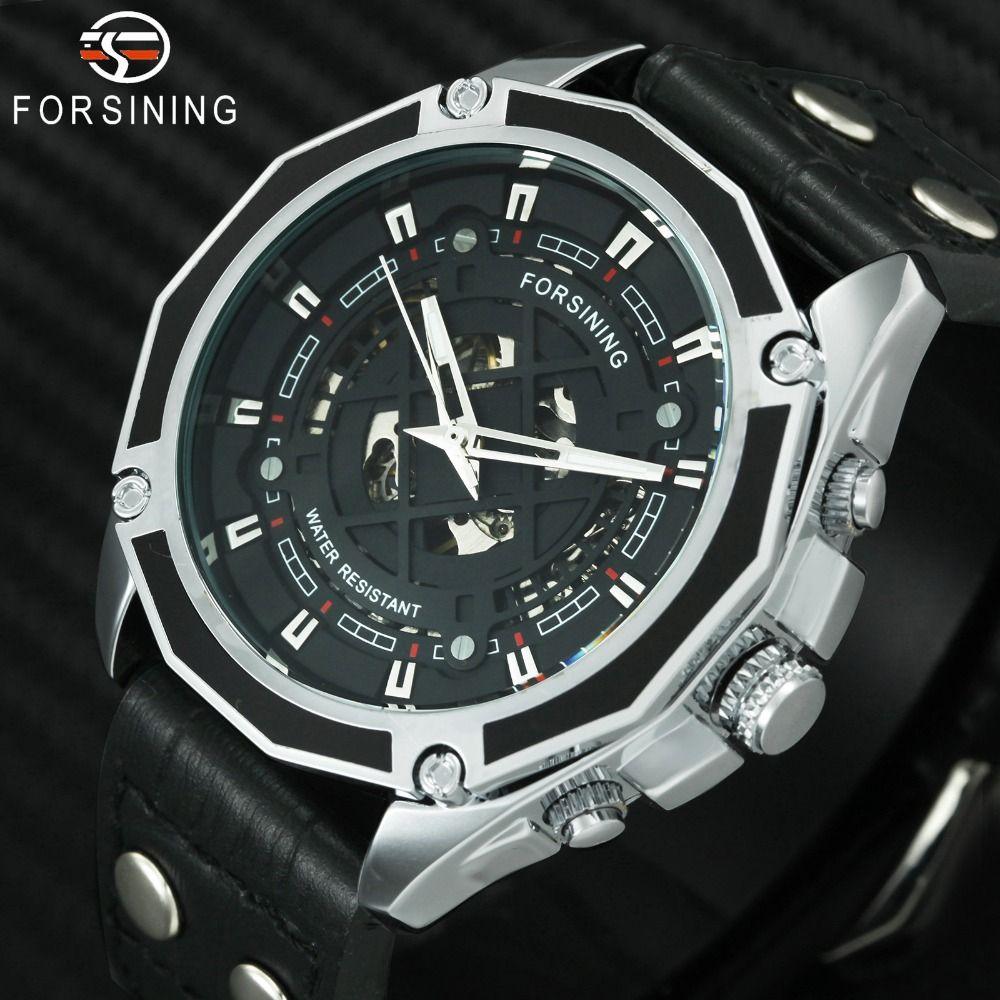 Compre FORSINING Moda Casual Auto Reloj Mecánico Hombres Correa De Cuero  Esqueleto Dial Polígono Caja Deportes Relojes Para Hombre Top Marca De Lujo  A ... ffcdd49080bd