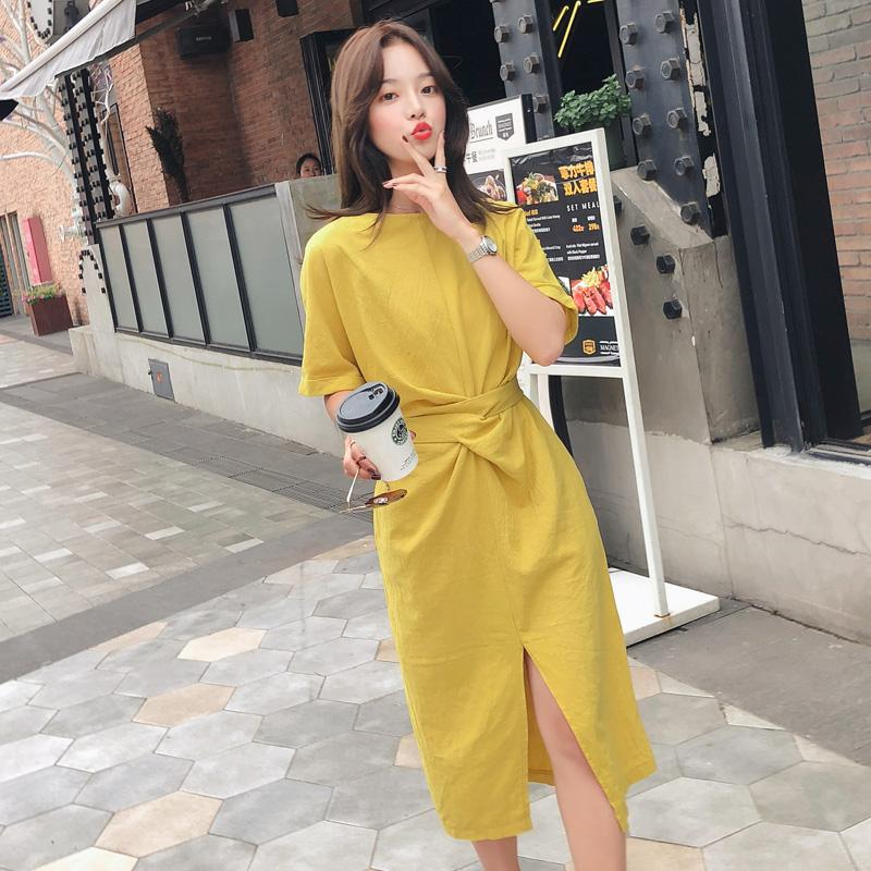 Summer Dress Women O Neck Short Sleeve Casual Dresses Korean Style