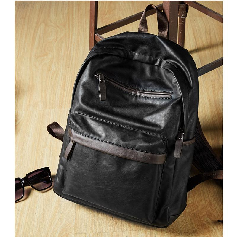5c4da514981 2018 New Fashion Bag Leather Mens Laptop Backpack Casual Daypacks ...