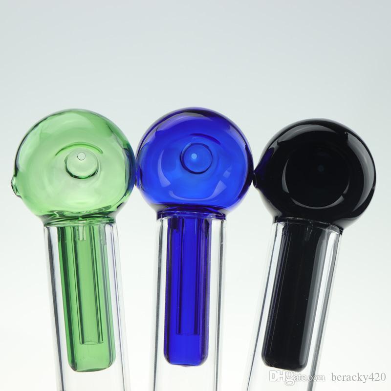6-Zoll-Glas-Taschen-Bubbler-Rohr mit großer seite Carbak-Loch-Mini-Glas-Löffel Handpfeife Tabak Rauchen Water Bong-Taschenbubbler-Rohre