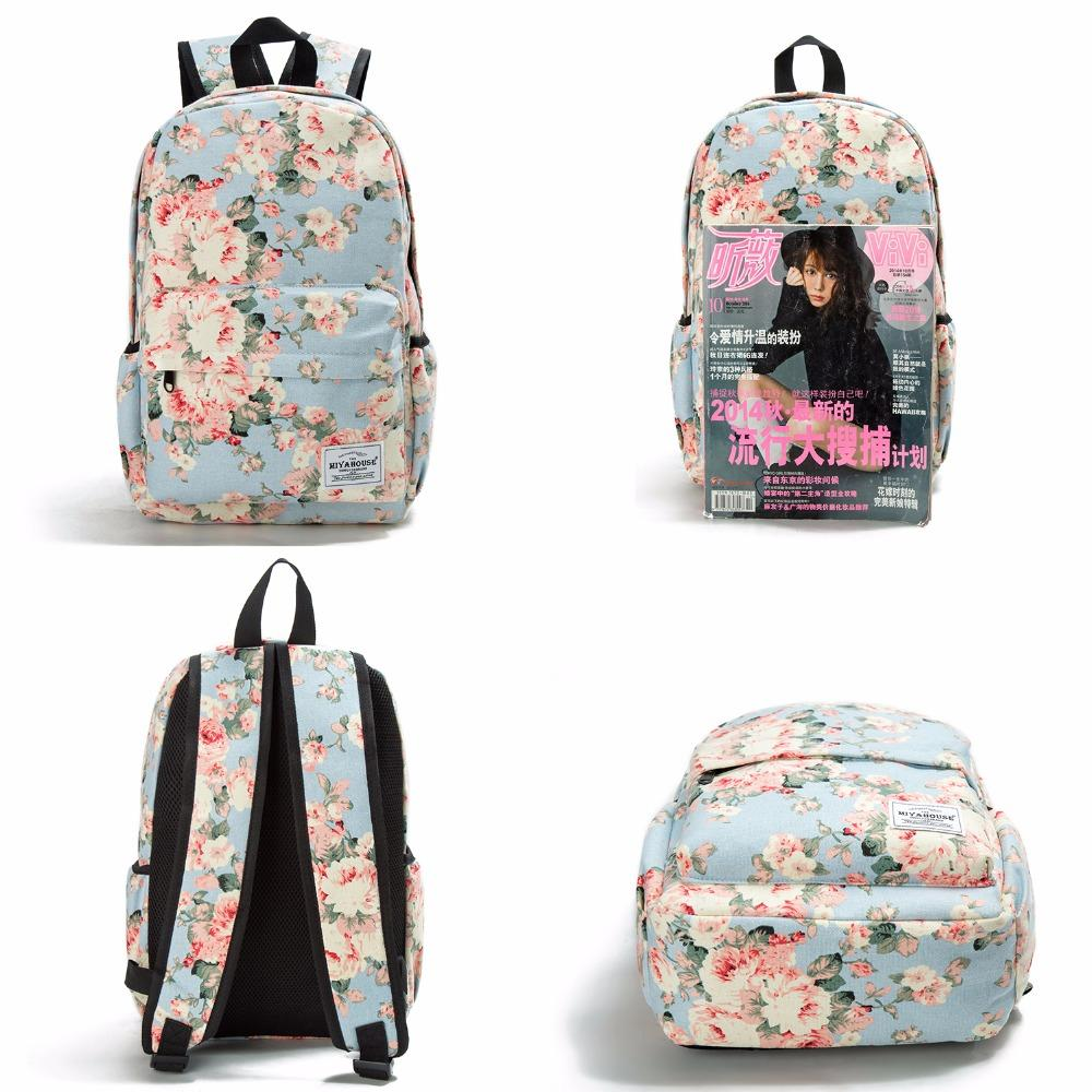 Women Canvas Backpacks For Teenage Girls Travel Rucksack Fashion School Bags  For Girls Floral Printing Backpack Women Women Canvas Backpacks Women Canvas  ... 182c14d06b318