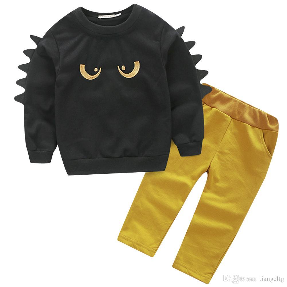 0de832b25 2019 Baby Dinosaur Sweater Pants Long T Shirt Boys Clothing Sets Kids  Abbigliamento Bambini Maglietta Del Manicotto Lungo Pantaloni Dinosauri  From Tiangeltg ...