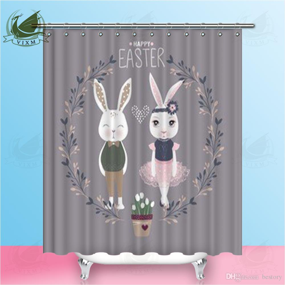 2019 Vixm Home Cute Rabbit Shower Curtain Waterproof For Decorative Animals Bathroom With Hooks Ring 72 X From Bestory 1665