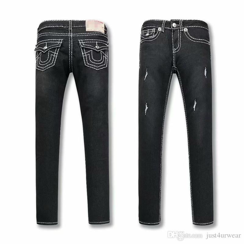 Compre verdadero para mujer negro jeans ajustados diseño rasgado jpg  800x800 Marcas de pantalones para mujer 148fae124053