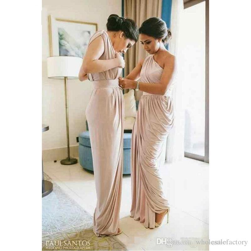 Бледные пыльные розовые одно плечо длинные платья для подружки невесты дешевые Daped Split Hand of Coom Wedding Гостевая вечеринка Платья выпускного вечера BM0635