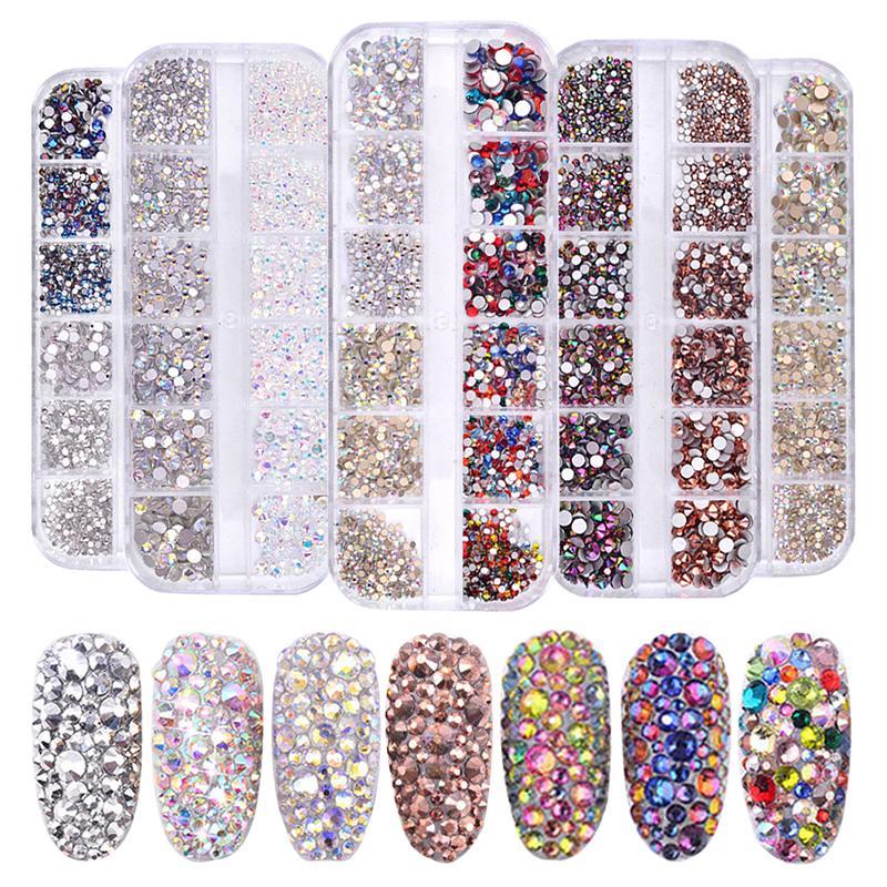 97c7943388ff0 1 Box Multi Size 3D Nail Rhinestones Flat Bottom AB Colors Glitter Crystal  Strass 3D Charm Gems DIY Manicure Nail Art Decoration