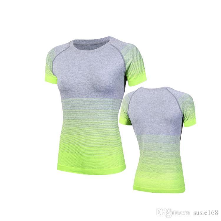 2017 летние тренировки сжатия рубашки Женщины Повседневная футболки сухой быстрый короткий рукав футболки Fitnes одежда тройники топы
