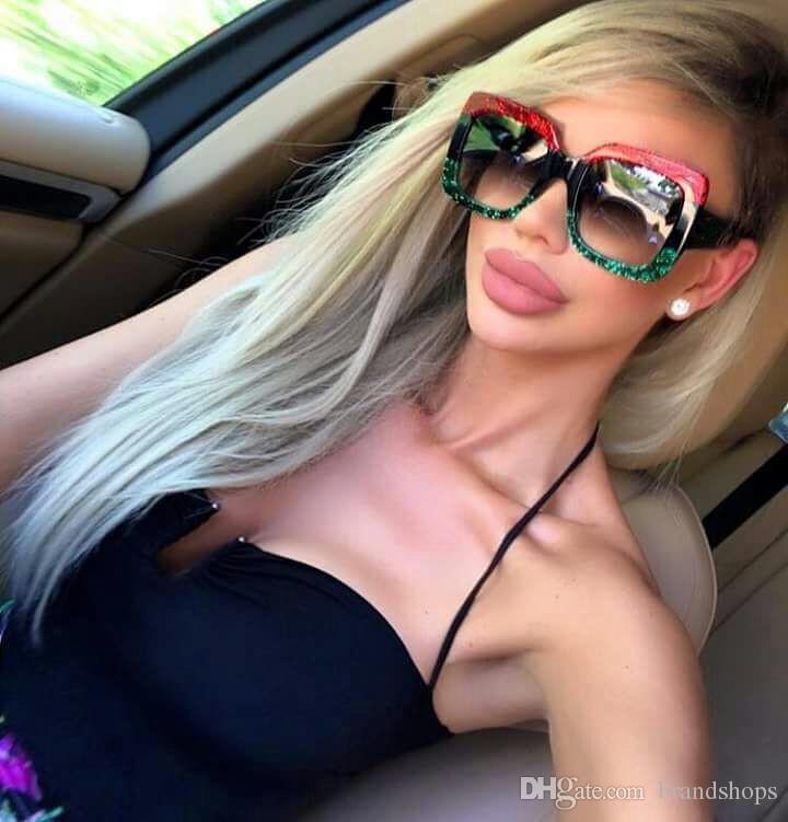 MULHERES de luxo de alta qualidade retro grande quadro de designer de marca do vintage Óculos de sol óculos Para as mulheres sombra Moda UV óculos de sol com caso