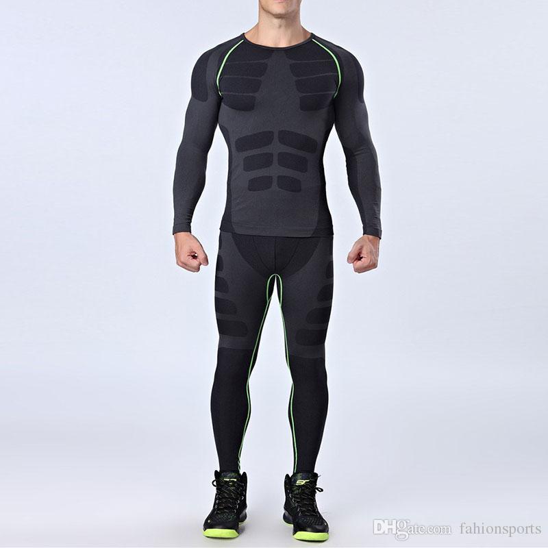Homens Seco Fit Compressão Treino de Fitness Tight Corrida Set T-shirt Dos Homens Legging Sportswear Demix Preto Ginásio Terno Do Esporte