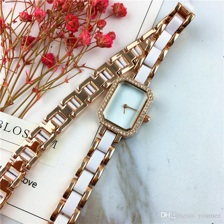 Reloj de pulsera de acero para mujer de alta calidad Cadena de pulsera de alta calidad Dial cuadrado de lujo Cara Nobel Mujer Cuarzo Belleza envío gratis Fiesta sexy