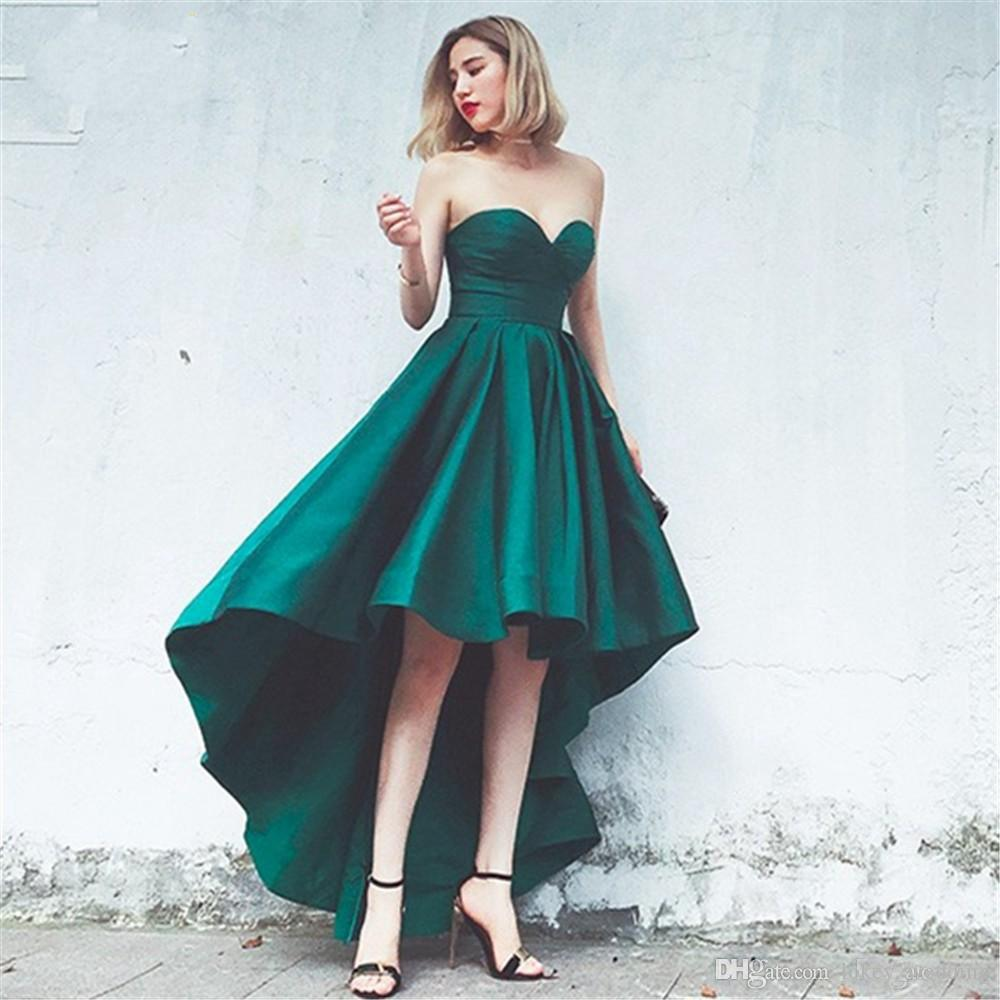 bfdfaa33e6a Simple Green High Low Prom Dresses 2017 A Line Cheap Sweetheart Satin Lace  Up Back Homecoming Cocktail Party Evening Gowns Consignment Prom Dresses  Crazy ...