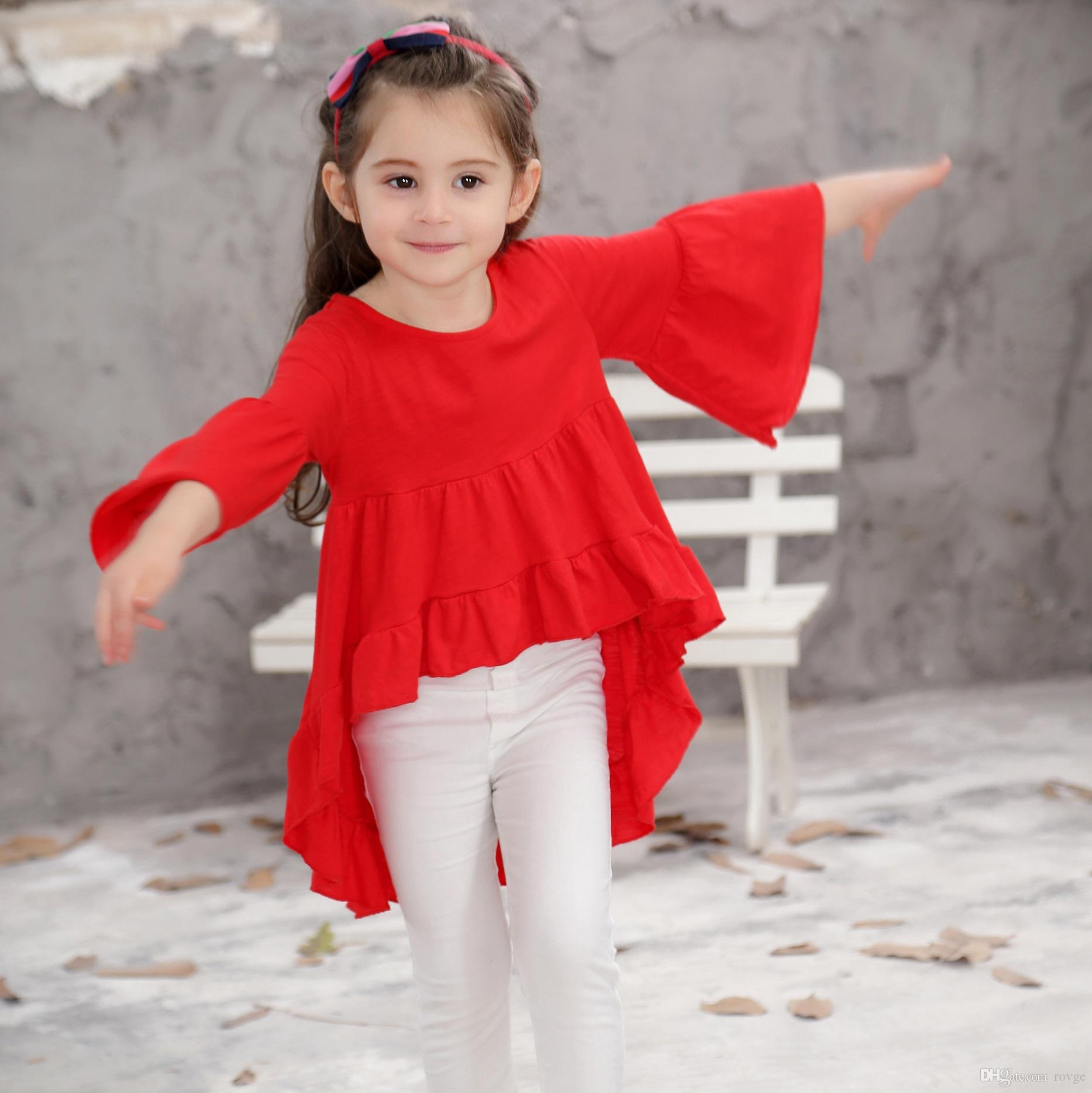 2018 Europe and the United States new ins burst children's clothing shirt children's tide baby cotton skirt blouse girl sleeve skirt