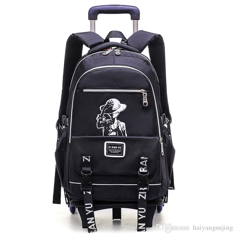 403d78d641 Boy Rolling Backpack On 2 6 Wheels Boy S Trolley School Bags Children S  Travel Luggage Bag Backpacks Detachable Student Removable Bookbag Vintage  Rucksack ...