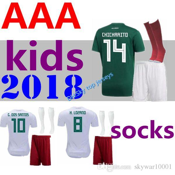 2018 World Cup Mexico Kids Soccer Jersey 18 19 Mexico Soccer Jerseys  Uniforms Fans Version CHICHARITO LOZANO MARQUEZ Football Kit Shirts UK 2019  From ... ac425b6fb
