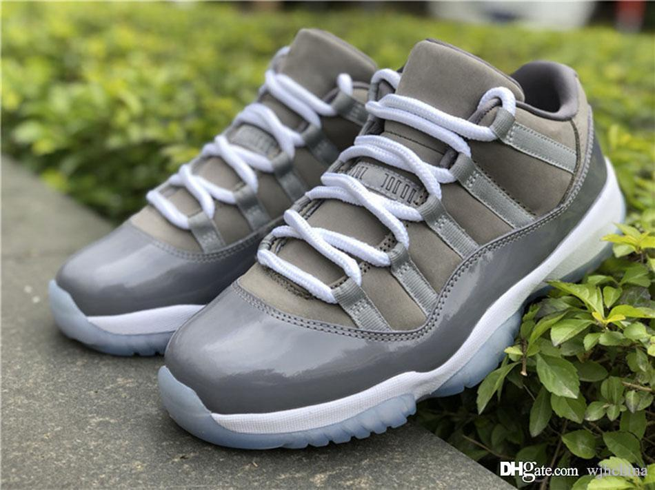 sale retailer a3472 53495 Best Quality 2019 11 Low Cool Grey 11S Basketball Shoes Sneakers for Men  Authentic 2018 Real Carbon Fiber 528895-003 With Box 40-47.5