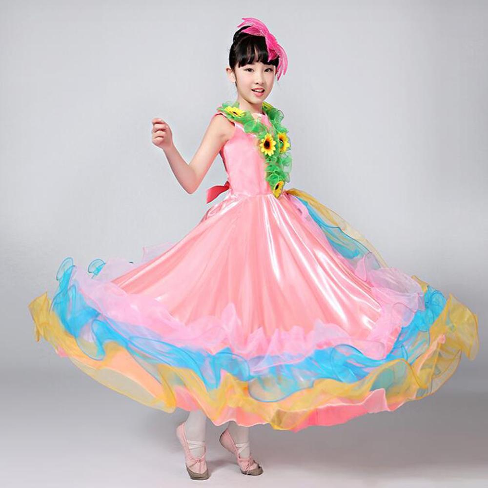 403497180 Niños trajes de bailarina española Traje de baile de flamenco sexy Trajes  para niñas Rendimiento Flores Salón de baile Ropa de escenario 720 ...