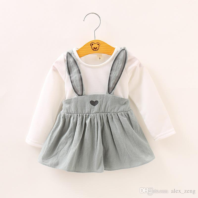 Baby Cute Dress Kids Girl Long Sleeved Rabbit Clothes Children Princess Party Dreses Clothing Outfits For Spring Autumn