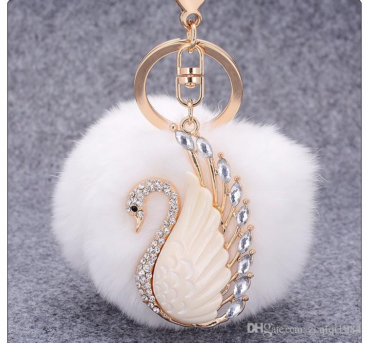 Lapin Fourrure Boule porte-clés Fluffy Round Ball avec Bling Bling Swan En Métal Porte-clés De Voiture Porte-clés Charmes Sac À Main Pendentif Pendentif