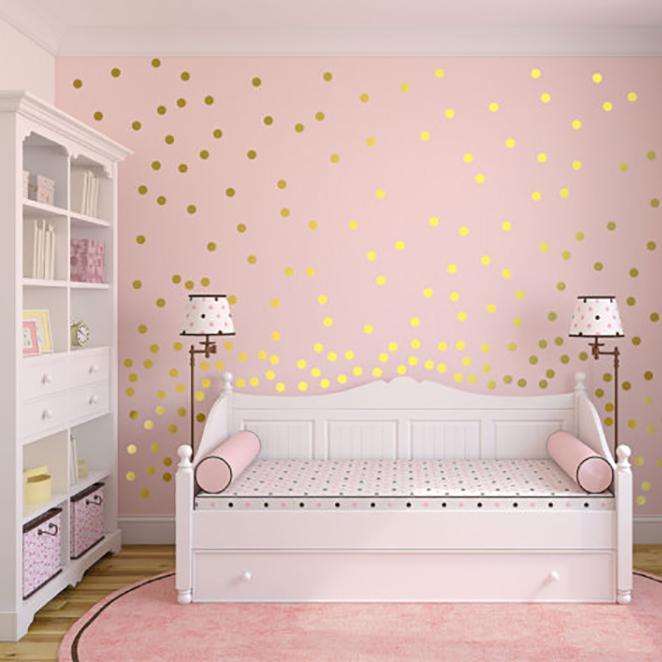 gold polka dots wall sticker baby nursery stickers children