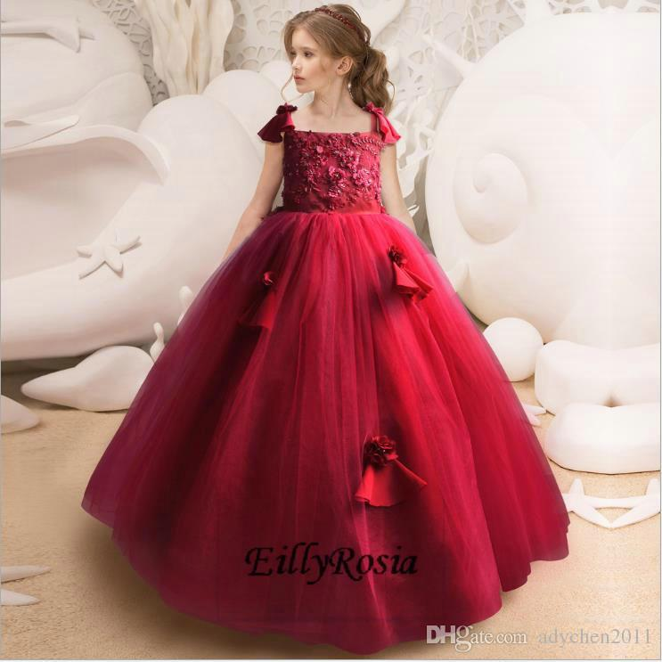 Red Ball Gown Little Girls Prom Dresses Appliques Floor Length ...