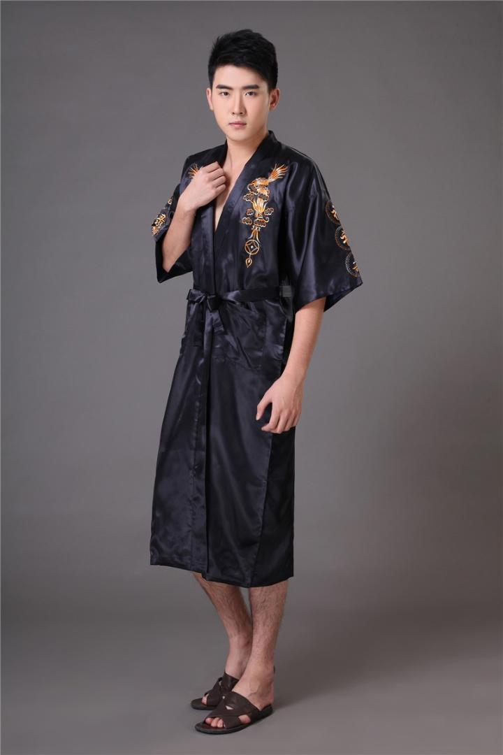 2019 Chinese Long Men S Satin Silk Home Robe Embroidery Male Kimono Bath Dressing  Gown Dragon Nightgowns Pyjamas Sleepwear From Maoyili 5c75c0f12