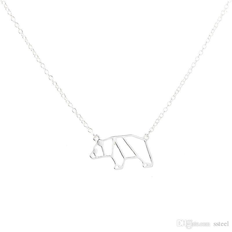 ملخص الحد الأدنى اوريغامي الدب القطبي قلادة الحيوان الباندا قلادة سلسلة مجوهرات الإكسسوار هدية لصديق