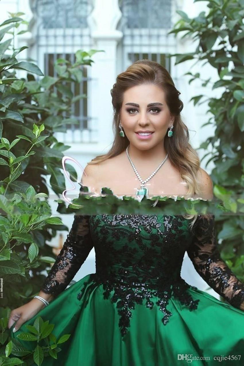Vestido de fiesta verde esmeralda 2019 Vestidos de noche con hombros descubiertos Manga larga Ilusión con lentejuelas negras Fiesta de mancha imperio Vestidos de baile