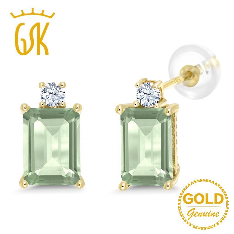 68d32d662 GemStoneKing Women's Simple Elegant Earrings 3.10 Ct Emerald Cut Natural  Green Amethyst 10K Yellow Gold Stud Earrings