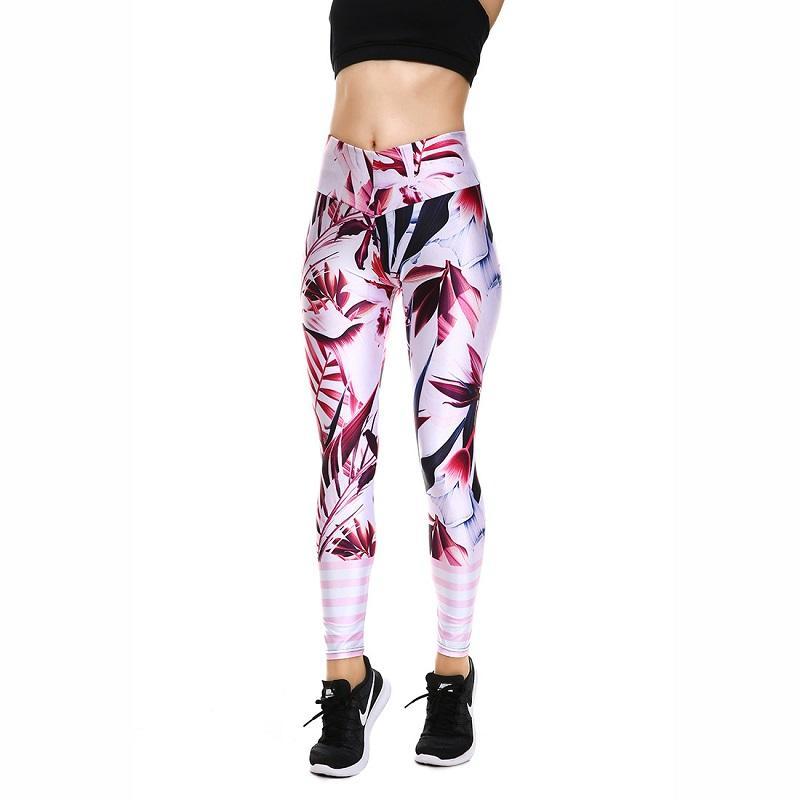 78247f874 Nouvelle Arrivée Fleur Imprimé Rayures Femmes Leggings Yoga Pantalon Sport  Taille Haute Pantalon Sport Formation Leggings