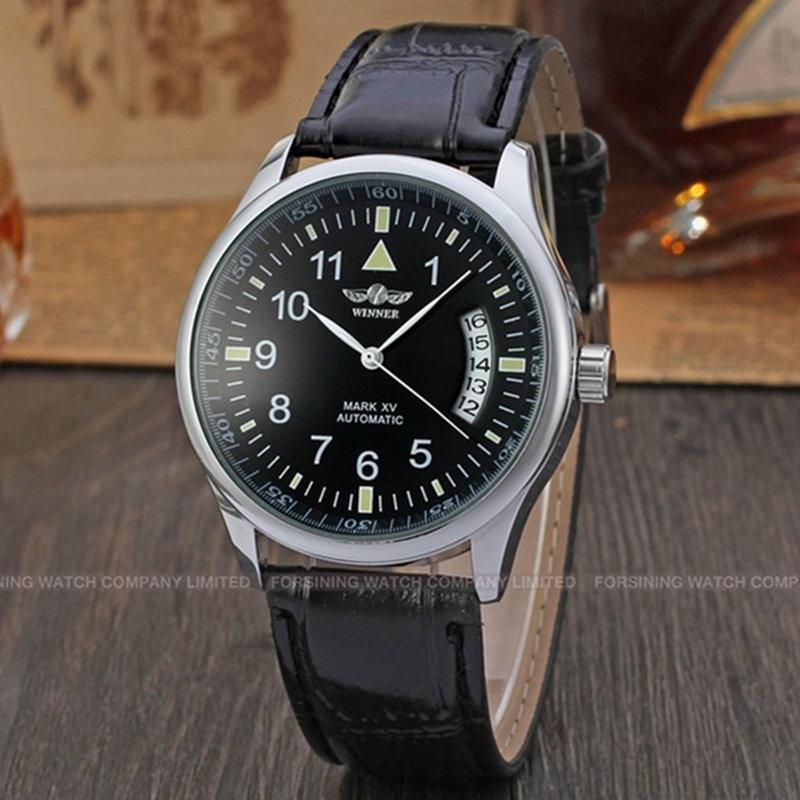 0409141c949 Compre TOP Marca VENCEDOR 2016 Hot Sale Da Moda Mão Mecânica Vento Homens  Relógios De Luxo Bussiness Pulseira De Couro Masculino Relógio De Pulso  Relogio De ...