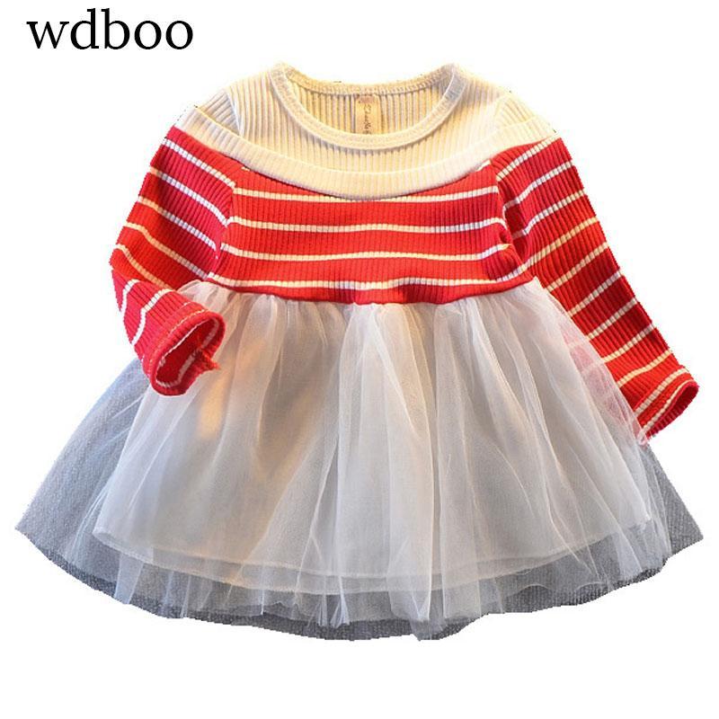 f02ee3325 2019 WDBOO Baby Girls Tutu Dress Black Red Pink Striped Rib Long ...