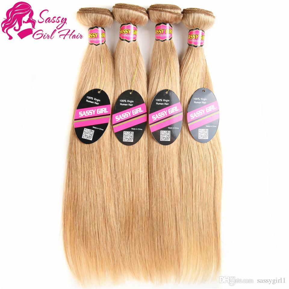 Grade 7a Brazilian Honey Blonde Straight Hair Weave unprocessed 27# Blonde Virgin Hair Extension Human Hair Bundles SASSY GIRL