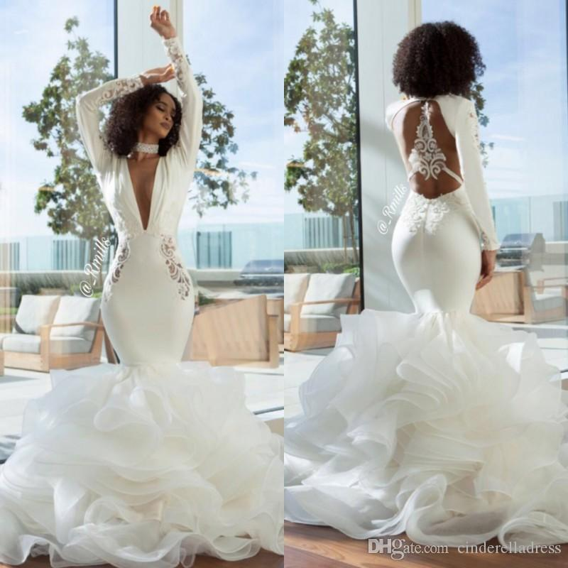 2018 Deep V Neck Embroidery Long Sleeves Evening Dresses See Through Backless Cascading Ruffles Skirts Elegant Prom Gowns