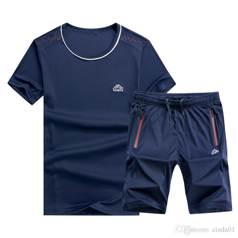 6XL Masculino Grande Quintal Correndo Terno Ocasional Verão Dos Homens Treino T Shirt Com Jogger Calças Curtas Novo Desgaste Da Moda