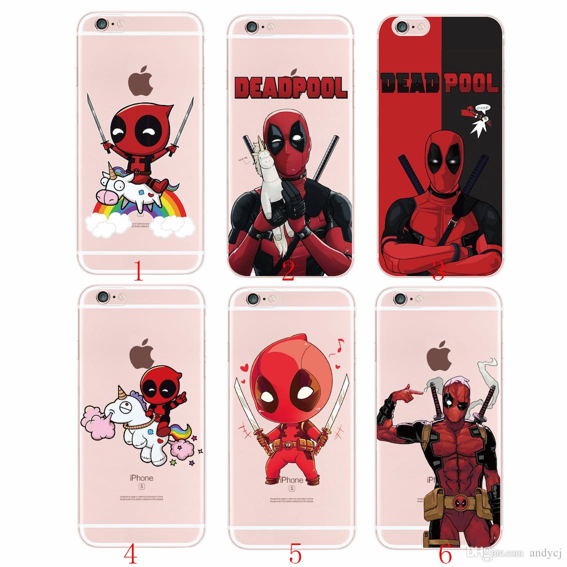 official photos 1bd64 bc64e cartoon Comic character Deadpool cool and fashion Case for iPhone 5s SE 6  6s Plus 7s Plus Samsung S8 S9 S9Plus