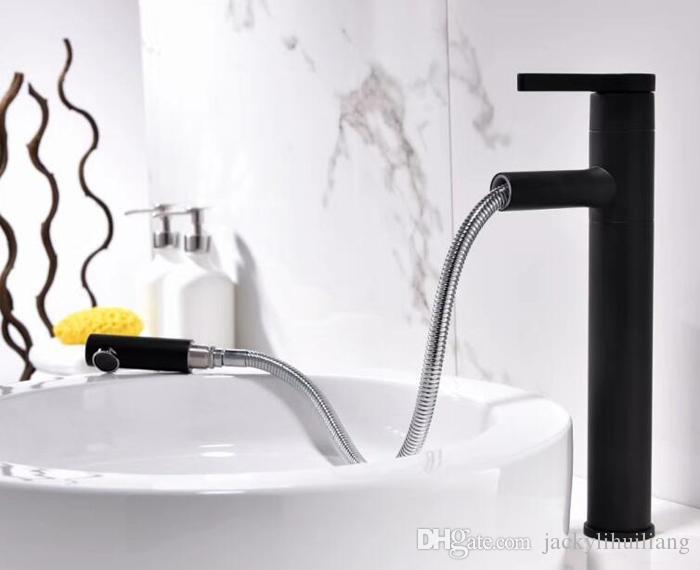 латунь медь матовый черный цвет вытащить бассейна кран бассейна горячей и холодной меди кран смеситель водопроводной воды ванной кран BF012