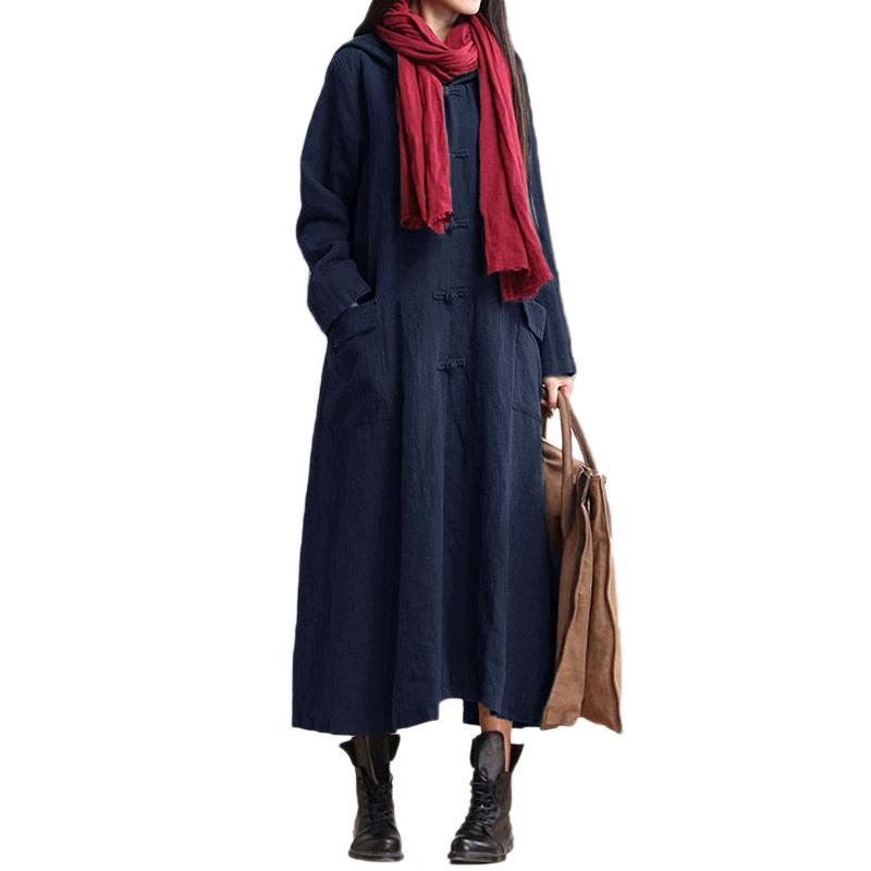 c6400d127a 2019 Spring Autumn Cotton Linen Dress Women Vintage Maxi Long Dress Long  Sleeve Casual Loose Hooded Dress 5XL Plus Size Robe Short Prom Dress  Evening ...